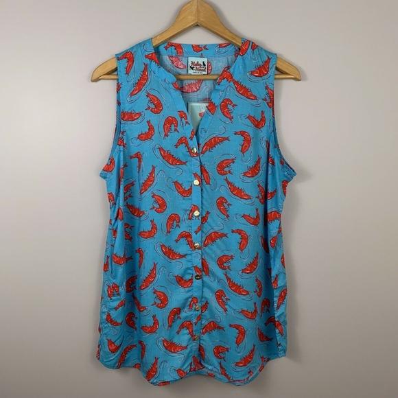 a5e55f344611e Haley   The Hound Blue Shrimp Print Stella Top